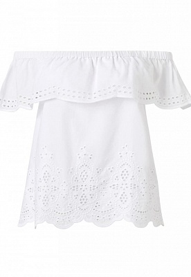 Lily Cotton Broiderie Off Shoulder Top-White